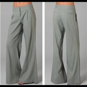 Theory Rianon Wide Leg Linen Blend Sage Green Pant